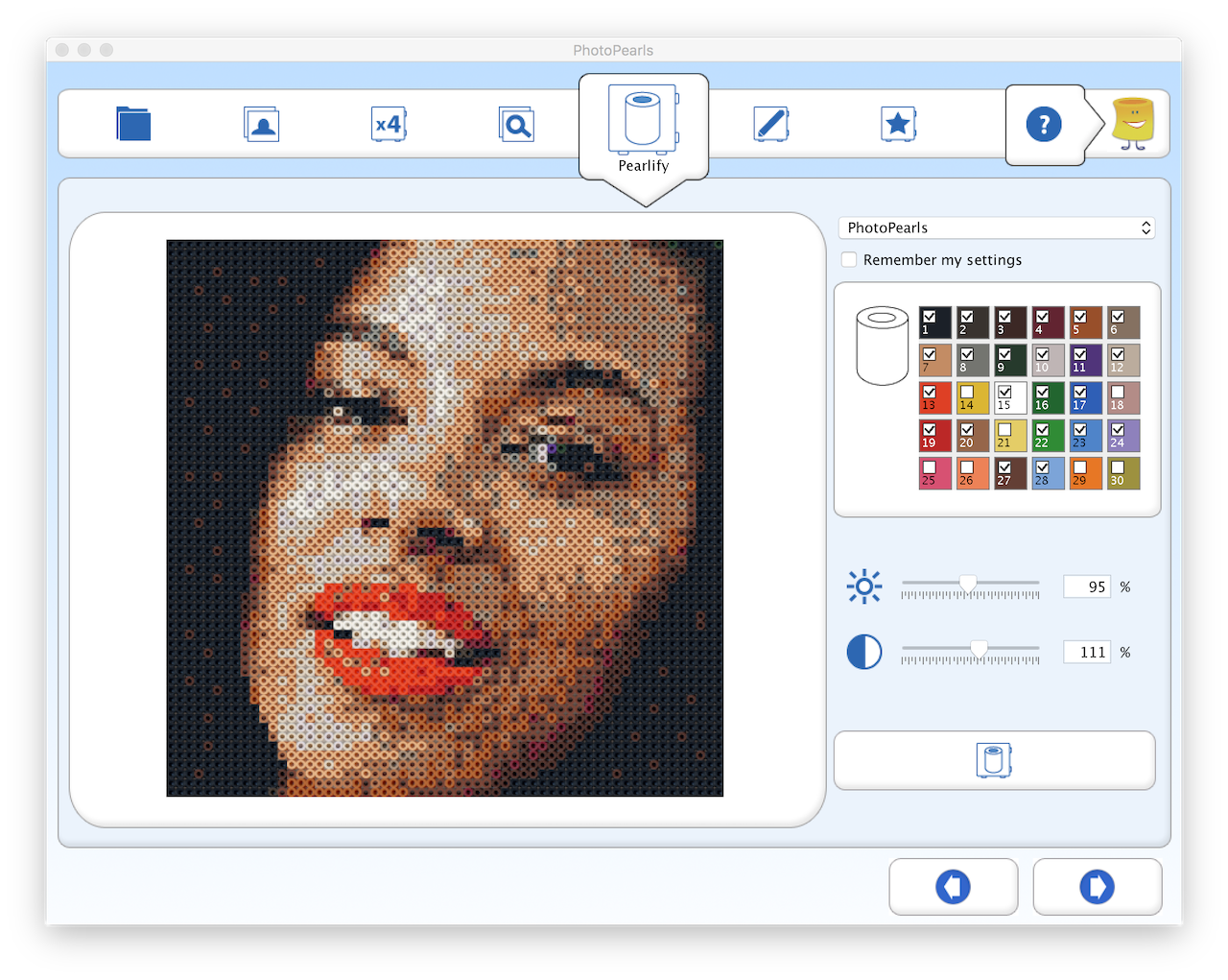 Screenshot of the PhotoPearls software