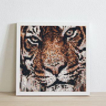 Example of a beaded lion photo in a frame